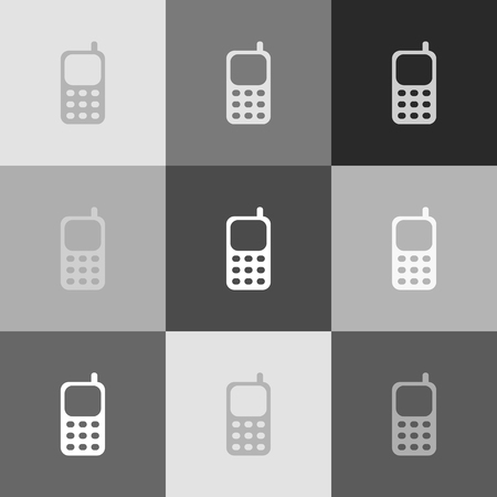 smartphone business: Cell Phone sign. Vector. Grayscale version of Popart-style icon.