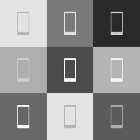 touchpad: Abstract style modern gadget with blank screen. Template for any content. Vector. Grayscale version of Popart-style icon.