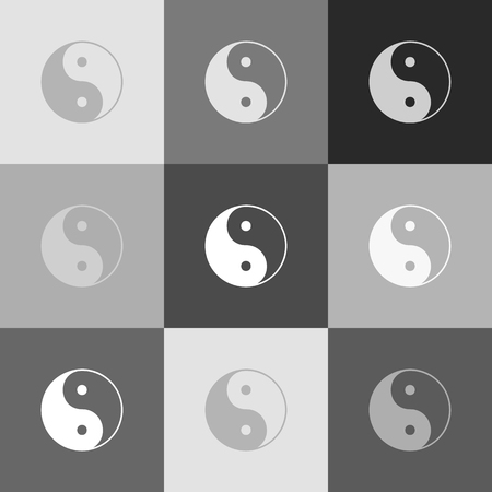 contrasts: Ying yang symbol of harmony and balance. Vector. Grayscale version of Popart-style icon.