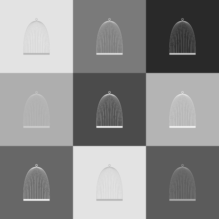 Bird cage sign. Vector. Grayscale version of Popart-style icon.