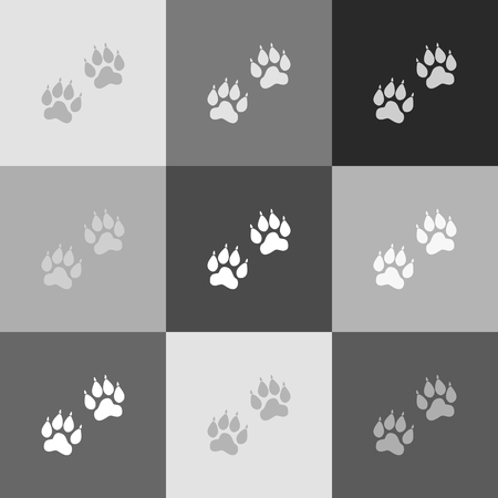grey cat: Animal Tracks sign. Vector. Grayscale version of Popart-style icon. Illustration