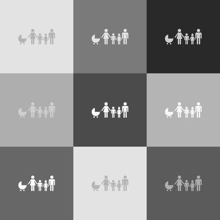 Family sign illustration. Vector. Grayscale version of Popart-style icon.