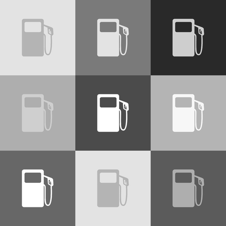 Gas pump sign. Vector. Grayscale version of Popart-style icon. Illustration
