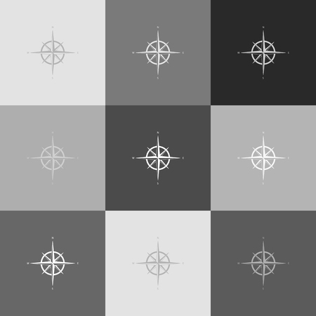 compass rose: Wind rose sign. Vector. Grayscale version of Popart-style icon.