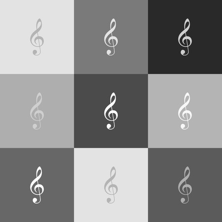 festival scales: Music violin clef sign. G-clef. Treble clef. Vector. Grayscale version of Popart-style icon. Illustration