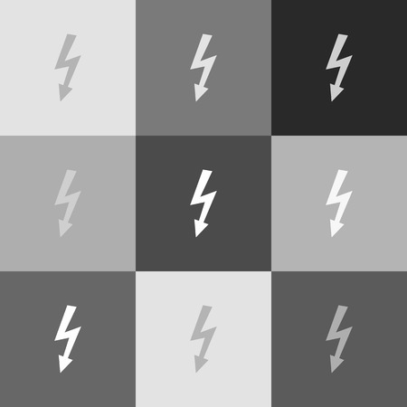 bolt: High voltage danger sign. Vector. Grayscale version of Popart-style icon.