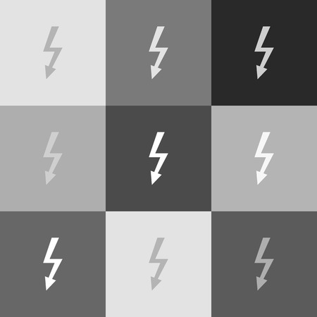 volte: High voltage danger sign. Vector. Grayscale version of Popart-style icon.