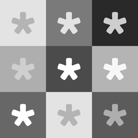 Asterisk star sign. Vector. Grayscale version of Popart-style icon.