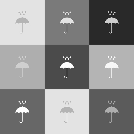 nylon: Umbrella with water drops. Rain protection symbol. Flat design style. Vector. Grayscale version of Popart-style icon.