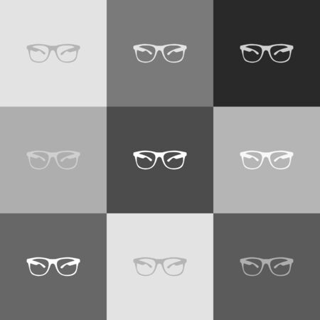 eyewear: Sunglasses sign illustration. Vector. Grayscale version of Popart-style icon.