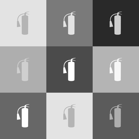 Fire extinguisher sign. Vector. Grayscale version of Popart-style icon.