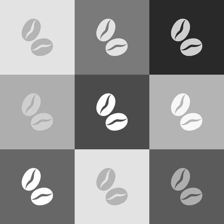 커피 콩 서명입니다. 벡터. Popart 스타일 아이콘의 그레이 스케일 버전.