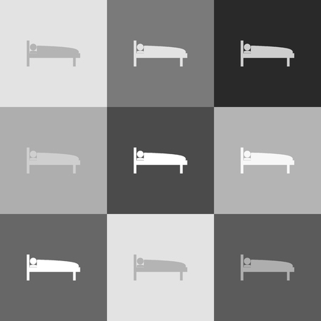 emergency cart: Hospital sign illustration. Vector. Grayscale version of Popart-style icon.