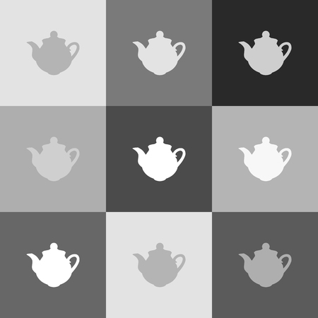 boiler: Tea maker sign. Vector. Grayscale version of Popart-style icon.