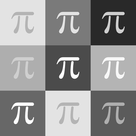 Pi greek letter sign. Vector. Grayscale version of Popart-style icon. Çizim