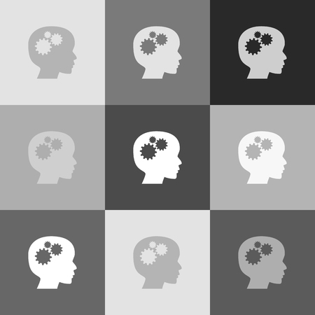 pictograph: Thinking head sign. Vector. Grayscale version of Popart-style icon.