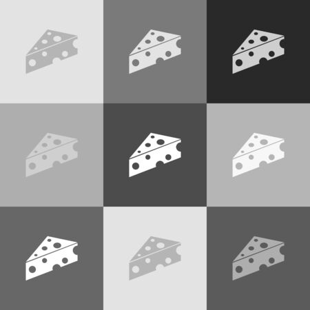 chunk: Cheese Maasdam sign. Vector. Grayscale version of Popart-style icon.
