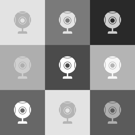 cam: Chat web camera sign. Vector. Grayscale version of Popart-style icon.
