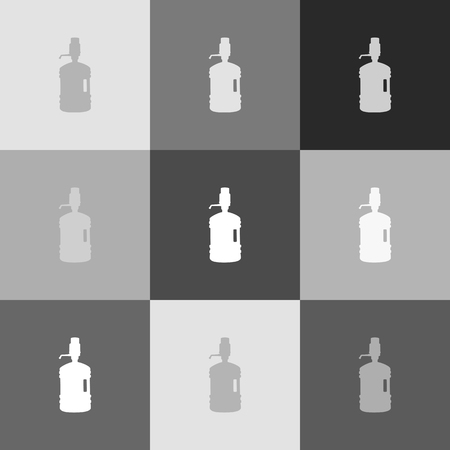 siphon: Plastic bottle silhouette with water and siphon. Vector. Grayscale version of Popart-style icon.