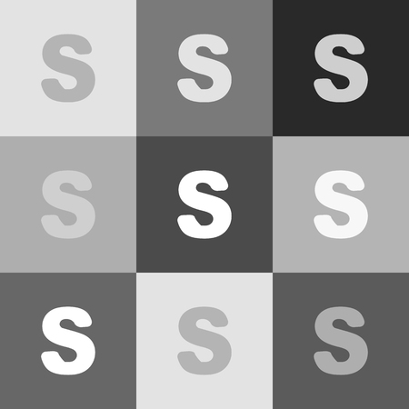 alphabetic character: Letter S sign design template element. Vector. Grayscale version of Popart-style icon.