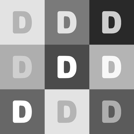 alphabetic character: Letter D sign design template element. Vector. Grayscale version of Popart-style icon.