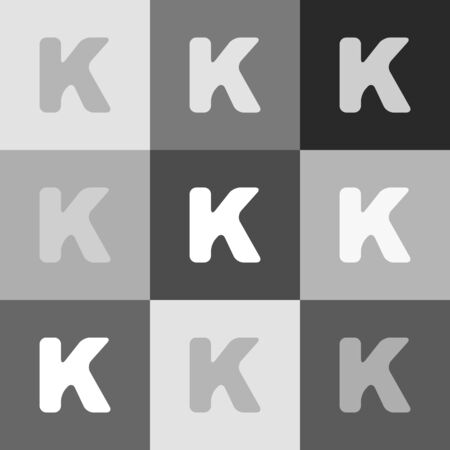 alphabetic character: Letter K sign design template element. Vector. Grayscale version of Popart-style icon.