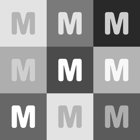 typescript: Letter M sign design template element. Vector. Grayscale version of Popart-style icon. Illustration