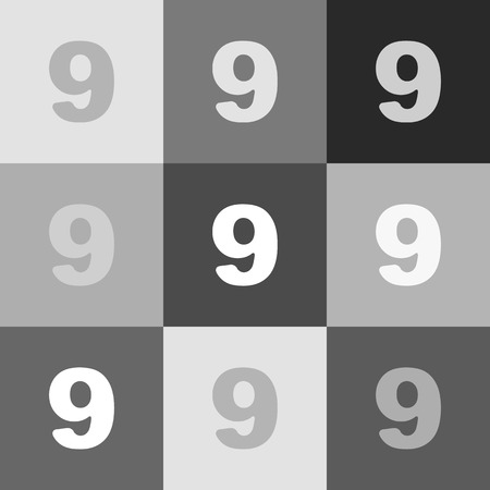 Number 9 sign design template element. Vector. Grayscale version of Popart-style icon.