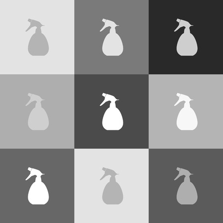 pictograph: Spray bottle for cleaning sign. Vector. Grayscale version of Popart-style icon.