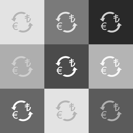 yen: Currency exchange sign. Euro and Turkey Lira. Vector. Grayscale version of Popart-style icon.