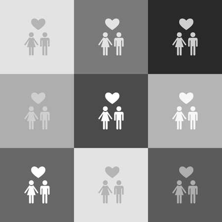 baby and mother: Family symbol with heart. Husband and wife are kept each other`s hands. Love. Vector. Grayscale version of Popart-style icon.