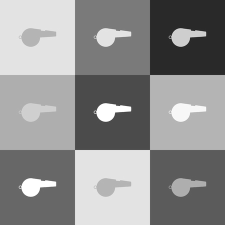 to warn: Whistle sign. Vector. Grayscale version of Popart-style icon.