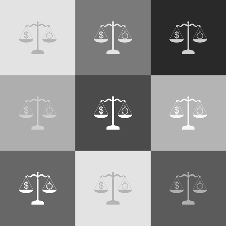 wages: Stopwatch and dollar symbol on scales. Vector. Grayscale version of Popart-style icon. Illustration