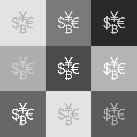 yuan: Currency sign collection dollar, euro, bitcoin, yen. Vector. Grayscale version of Popart-style icon. Illustration
