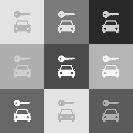 Car key simplistic sign. Vector. Grayscale version of Popart-style icon. Illusztráció