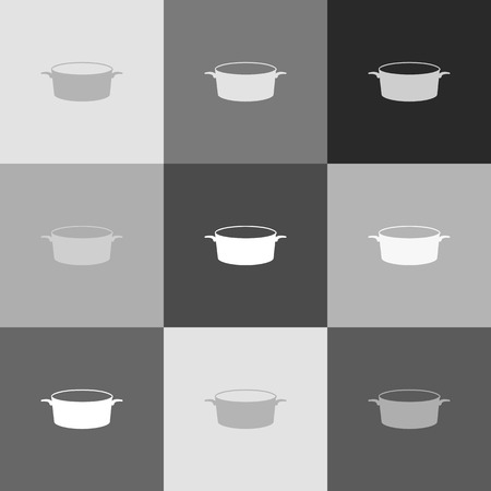 Pan sign. Vector. Grayscale version of Popart-style icon.