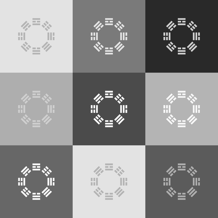 philosophic: Bagua sign. Vector. Grayscale version of Popart-style icon.