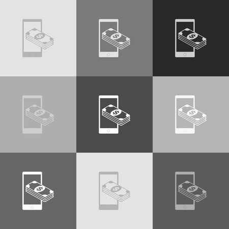 wages: Payment, refill your mobile smart phone,. Vector. Grayscale version of Popart-style icon.