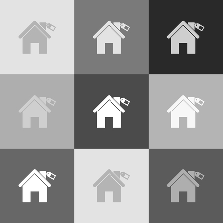 real state: Home silhouette with tag. Vector. Grayscale version of Popart-style icon.