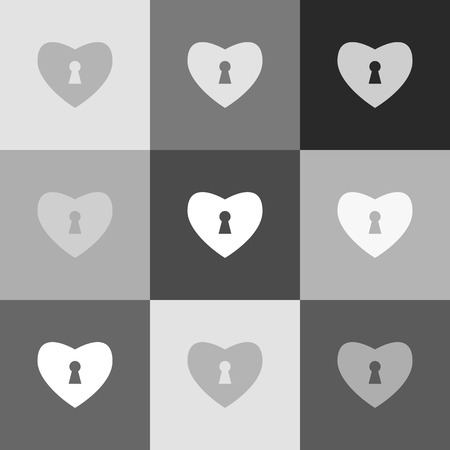 secret codes: Heart with lock sign. Vector. Grayscale version of Popart-style icon.