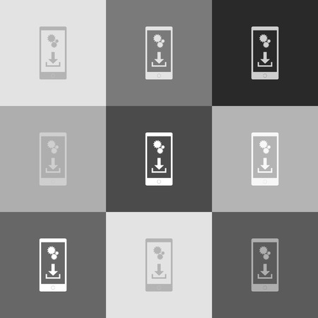 smartphone business: Phone settings. Download and install apps. Vector. Grayscale version of Popart-style icon. Illustration