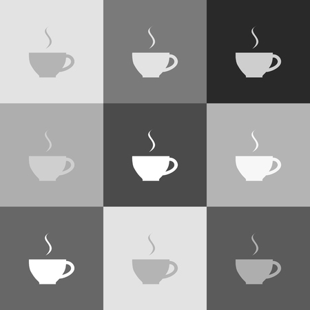 coffee beans: Cup sign with one small stream of smoke. Vector. Grayscale version of Popart-style icon.