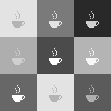 Cup sign with two small streams of smoke. Vector. Grayscale version of Popart-style icon.