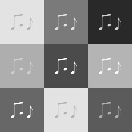 token: Music notes sign. Vector. Grayscale version of Popart-style icon.