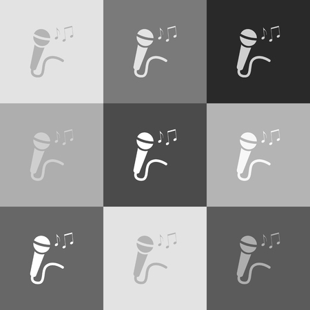 Microphone sign with music notes. Vector. Grayscale version of Popart-style icon. 向量圖像