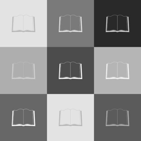 reader: Book sign. Vector. Grayscale version of Popart-style icon.