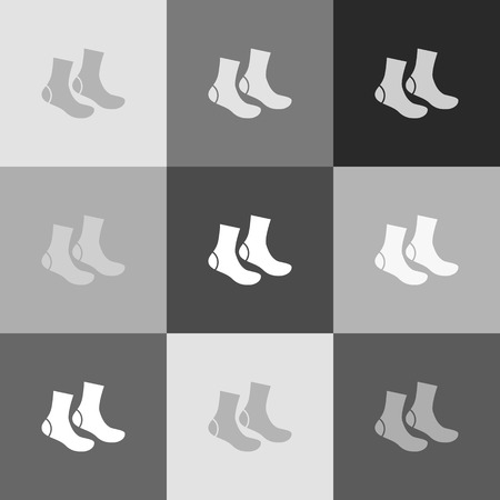 Socks sign. Vector. Grayscale version of Popart-style icon.