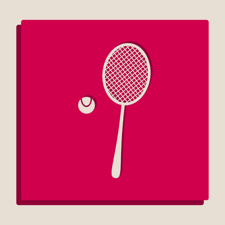 Tennis racquet with ball sign. Vector. Grayscale version of Popart-style icon.