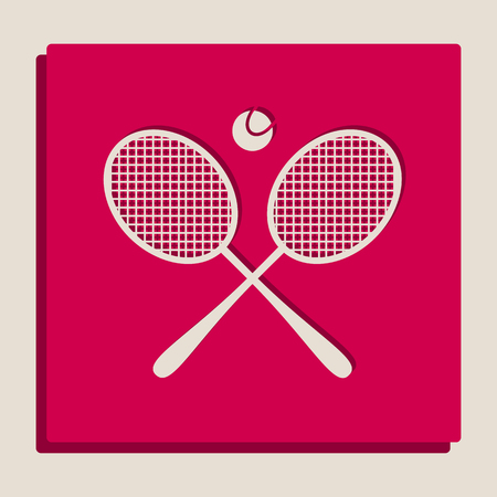 Two tennis racket with ball sign. Vector. Grayscale version of Popart-style icon.