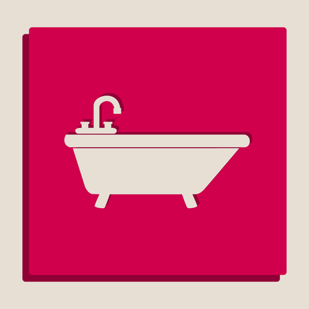 Bathtub sign illustration. Vector. Grayscale version of Popart-style icon.